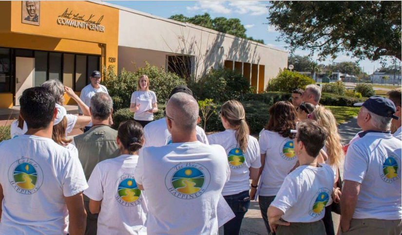 The Way to Happiness Association cleanup launches from the Martin Luther King Community Center in the Greenwood neighborhood of Clearwater, Florida.